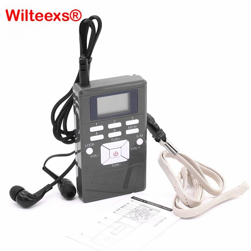 WILTEEXS Mini Portáteis de Modulação de Freqüência de Processamento de Sinal Digital Display LED Receptor de Rádio FM Com Fone de Ouvido
