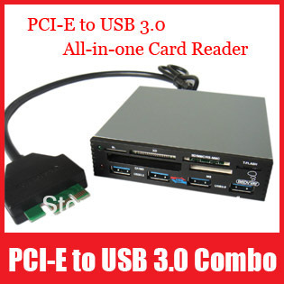"Aluminum Alloy 3.5"" Internal Floppy USB 3.0 to PCI-E 4 Ports Hub Combo USB 2.0 Supper SD,Micro SD/TF, XD, MS , M2,CF Card Reader"