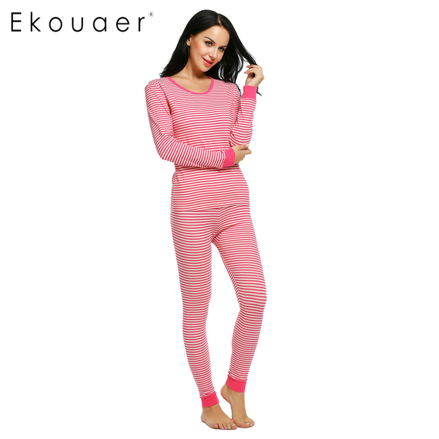 Ekouaer Sleepwear Pajama Women Pajamas Set Long Sleeve Striped Top and Long  Pants Nightgown Home Clothing c33d9a8b7