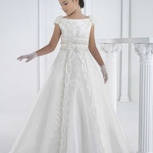 Kids Costumes Clothing Wedding-Dress First-Communion Luxurious Flower White Lace Party