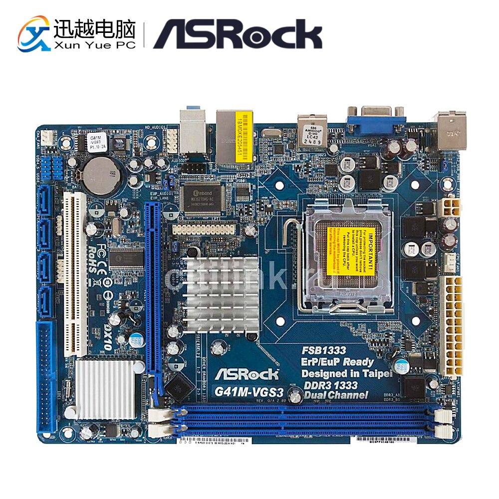 Asrock G41M-VGS3 Desktop Motherboard G41 Socket LGA 775 i3 i5 i7 DDR3 8G USB3.0 Micro-ATX asus g41m s26 supports 775 ddr3 integrated small plate g41 motherboard