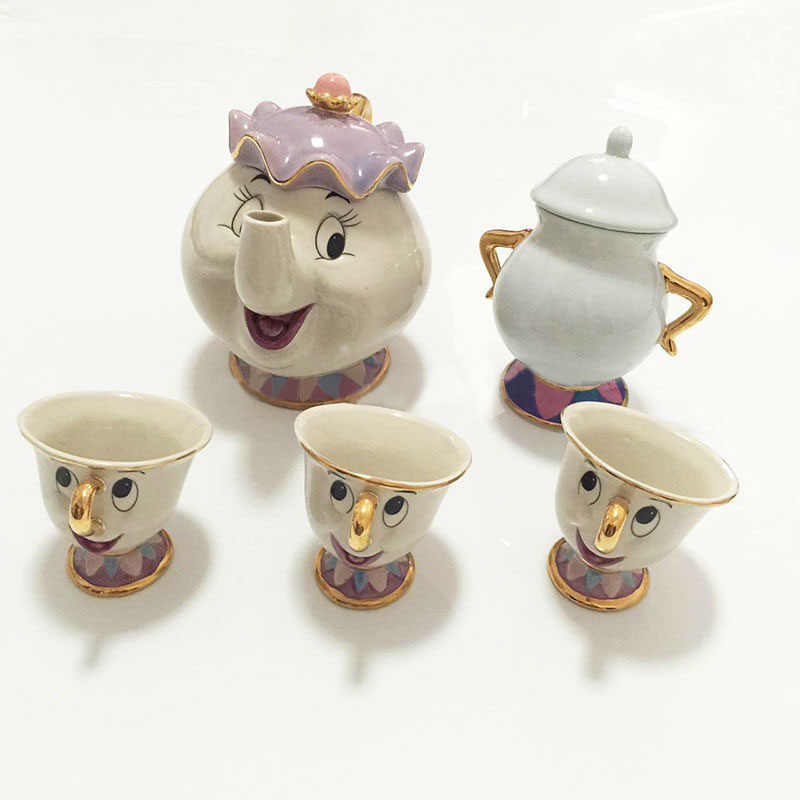 Kartun Kecantikan dan Binatang Teko Mug Mrs Potts Chip Teh Pot Piala Sugar Bowl Cogsworth Kopi Pot Xmas Indah hadiah Cepat Post