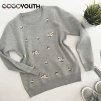 Gogoyouth 2018 Autumn Sweater Women Embroidery Knitted Winter Women Sweater And Pullover Female Tricot Jersey Jumper