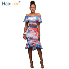 HAOYUAN 2017 Summer Off Shoulder Party Dresses Women Two Piece Dress Backless Club Wear Robe Vintage Floral Bodycon Sexy Dress