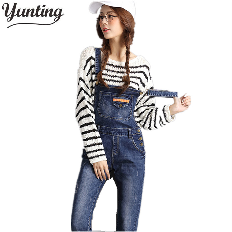 New Arrival 2018 Women Rompers and   Jumpsuits   for Autumn Ladies Casual Sleeveless Dark Blue Straps Scratch Denim Overall   Jumpsuit