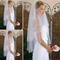 The Best Selling White Bridal Veils Beads Pencil Edge Two Layers Tulle Fingertip Length Wedding Veils
