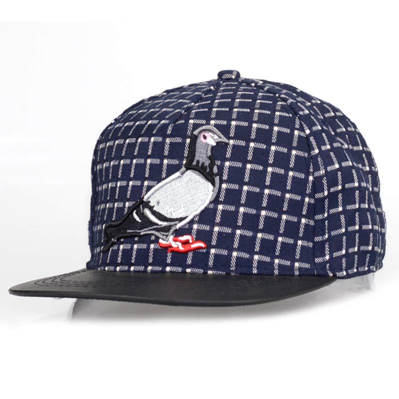 Embroidery plaid 3D Pigeon hip hop baseball caps for men women outdoor sport hat gorras adjustable casual flat brim snapback cap