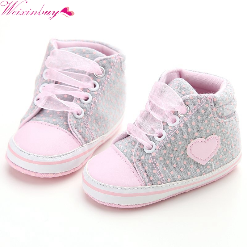 Fashion Classic Casual Infant Baby Girls Princess Polka Dots Spring Autumn Toddlers Newborn Lace-Up First Walkers Sneakers Shoes