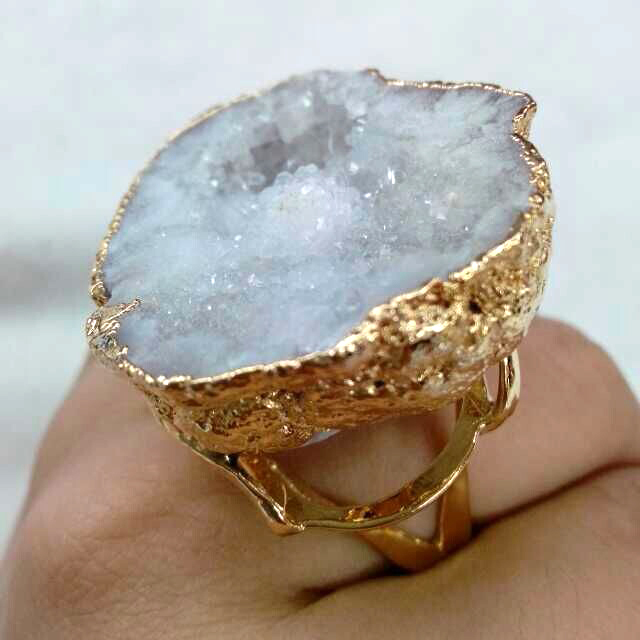 White Freeform Druzy Geode Stone Adjustable 24k gold ring unique rings women - ODY International Jewelry CO., LTD store