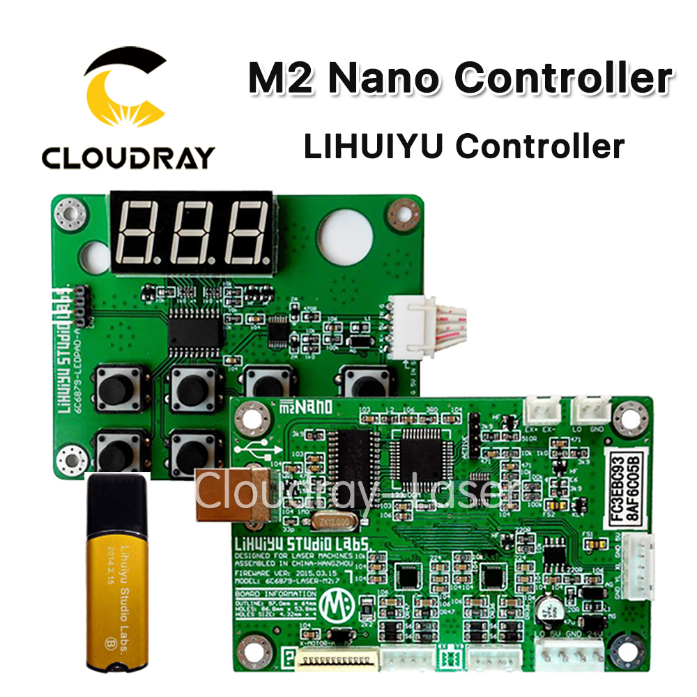 Cloudray LIHUIYU M2 Nano Laser Controller Mother Main Board + Control Panel + Dongle B System Engraver Cutter DIY 3020 3040 K40 leetro co2 laser controller for laser machines mpc6525 laser controller mainboard panel dongle cable 2