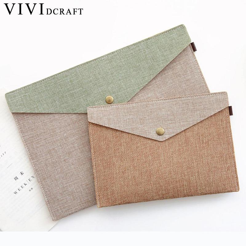 Vividcraft A4 A5 2 Sizes Simple Elegant Imitation Linen Canvas Felt File Bag Portfolio Office Study Bag Stationery Folder