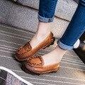 Ручная работа винтаж женщин женская обувь из натуральной кожи мокасины мокасины мягкая корова мышцы подошва повседневная обувь квартиры плюс размер
