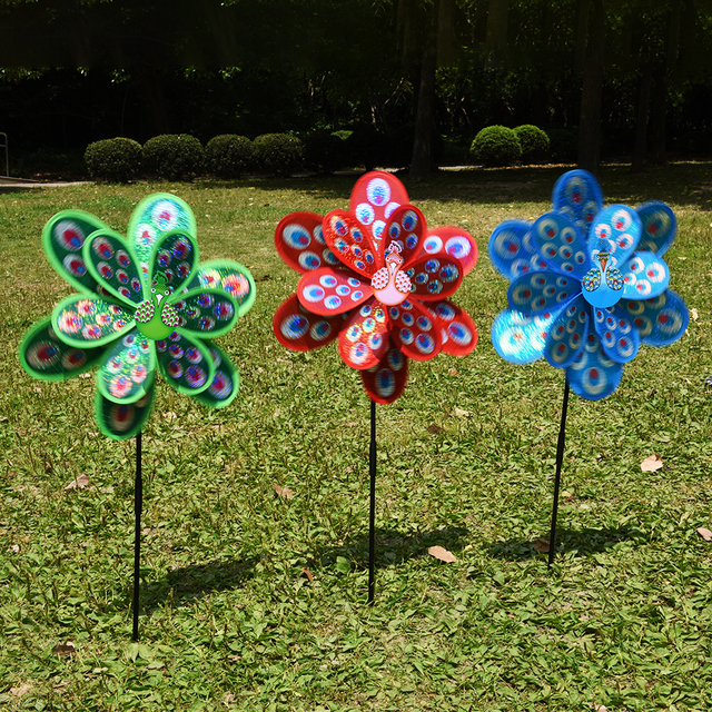 1Pcs Colourful Wind Spinner Home Garden Decor Yard Double Layer Peacock  Laser Sequins Windmill Kids Toy