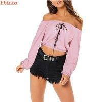 Ebizza Sexy Slash Neck Lace Up Front Women Crop Tops Long Sleeve Off Shoulder Short T