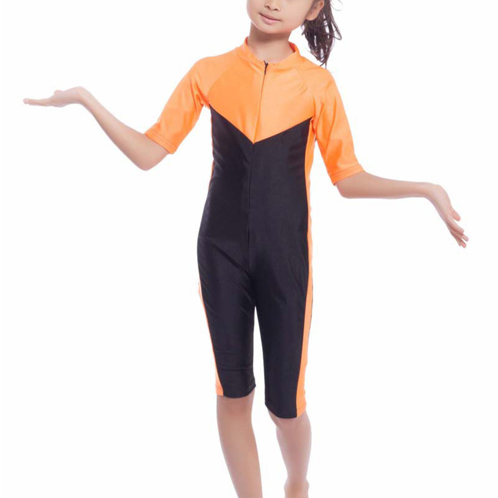 High Quality Muslim Child Conjoined Swimwear Islamic Girls Swimming Arab Islam Beach Wear Modest Islamic Hijab Swimsuits in Muslim Swimwear from Sports Entertainment