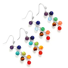 7 Chakras Natural Stone Beads Energy Drop Earrings
