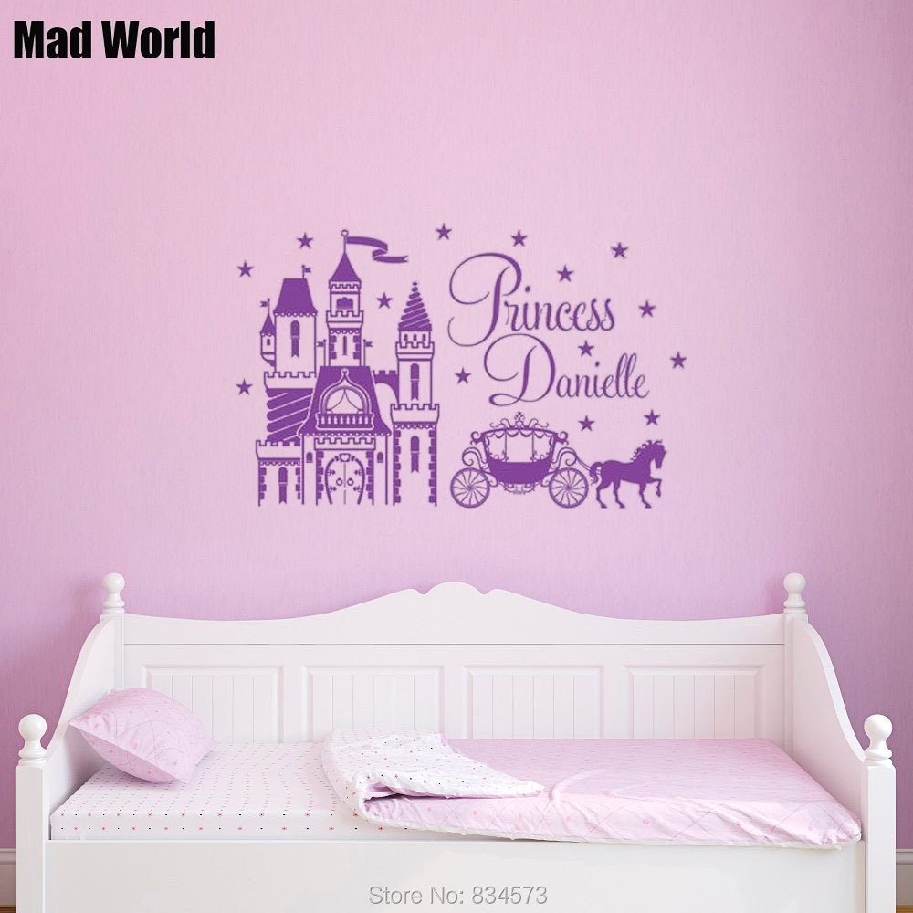 popular castle style homes buy cheap castle style homes lots from mad world personalised name princess castle horse wall art stickers wall decal home decoration removable