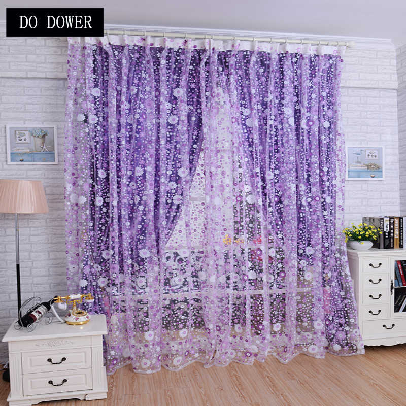 Pastoral Fresh Style Small Floral Curtains Sheer Voile Tulle For