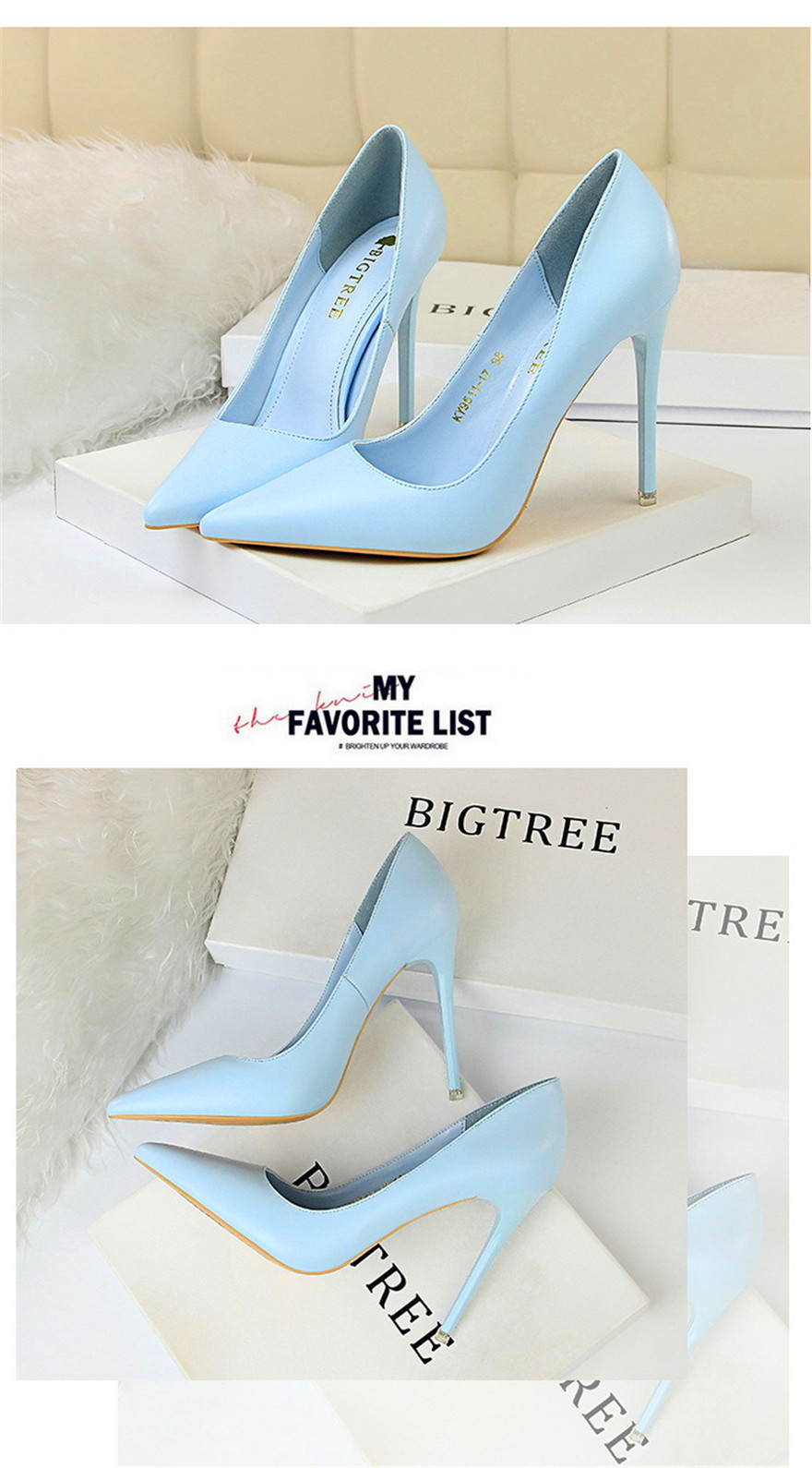 BIGTREE Soft Leather Shallow Fashion Women's High Heels Shoes Candy Colors Pointed Toe Women Pumps Show Thin Female Office Shoe 16
