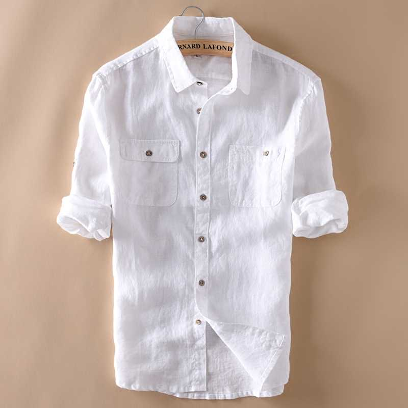 eaf29bb1c5 WMSHUO 100% Linen Shirt Men Long Sleeve Casual Shirts Solid White Double  Pocket Thin Style