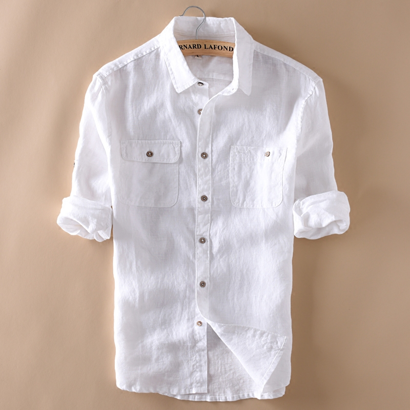 WMSHUO 100% Linen Shirt Men Long Sleeve Casual Shirts Solid White Double Pocket Thin Style Brand Clothing Y685