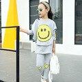 Crianças Conjuntos de Roupas Para Meninas Do Bebê Outfits Casual Rosto Sorridente Crianças Tracusits T-shirt & Leggings 2 Pcs 18 M 4 6 8 10 12 anos