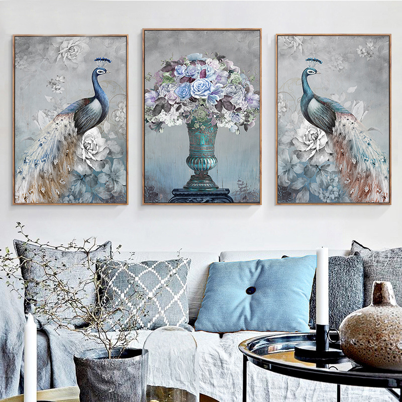 3pcs 2017, the latest DIY 5D diamond painting peacock, inlaid with a Round Diamond Cross Stitch suite, home decoration