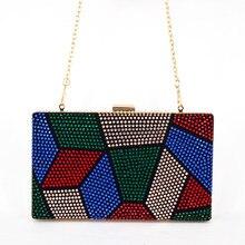 Multi farbe Geldbörse Kristall mini hochzeit clutch abendtasche handtasche Wristlets frauen schultertasche mit Kette Clutch Bag 817