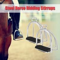 2 PCS Cage Horse Riding Stirrups Flex Steel Horse Saddle Anti skid Horse Pedal Equestrian Safety Equipment