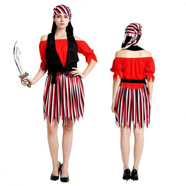 2018 Women Lady Sexy Red Stripe Dress Pirate Costume Adults Cosplay Performance Pirates Costumes Female Party  sc 1 st  AliExpress.com & 2018 Women Lady Sexy Red Stripe Dress Pirate Costume Adults Cosplay ...