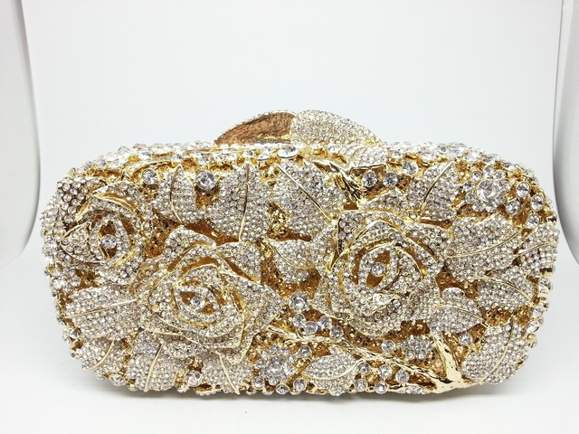 Hollow Out Rose Women S Evening Bags Brand Pink Wedding Clutches For Bride Bag Rhinestones Handbag