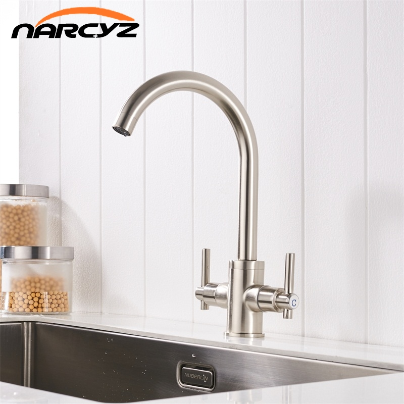 Free Shipping Nickel color Kitchen Faucets Double Hands Round Bathroom Sinks Wall-in Taps Double Hole Mix Water Tap XT-16Free Shipping Nickel color Kitchen Faucets Double Hands Round Bathroom Sinks Wall-in Taps Double Hole Mix Water Tap XT-16