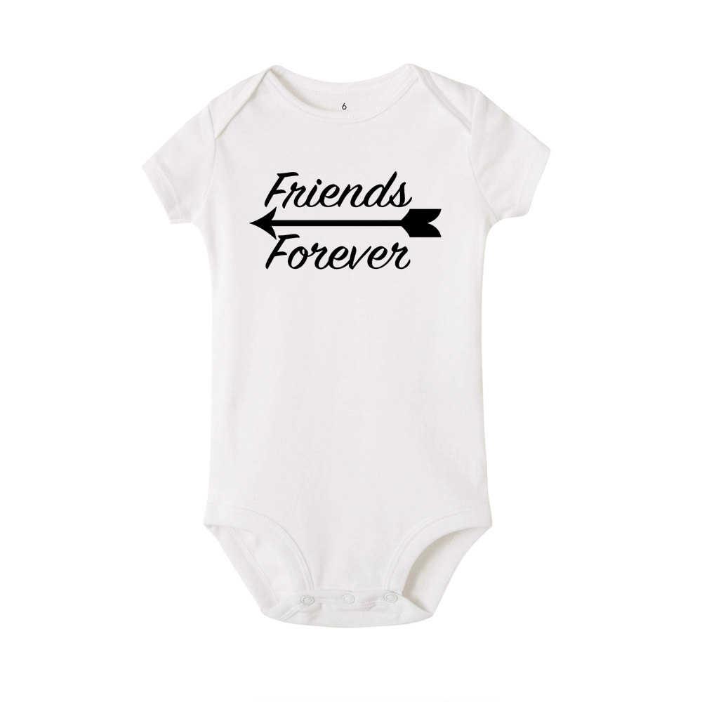 Geboren Samen Vrienden Foreve Schattige Tweeling Baby Bodysuit Pasgeboren Tweeling Gift Kleding Babe Leuke Witte Onesie Casual Stijl