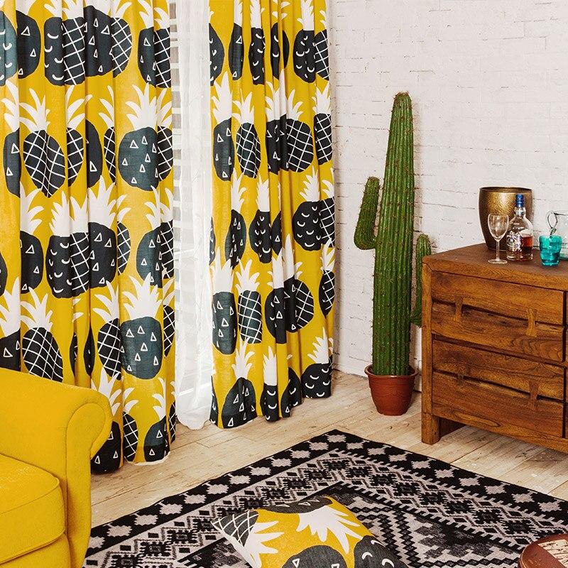 Rideau personnalisé drôle jaune ananas ombre tissu simple moderne Mianma salon fenêtres occultant rideau drapé M169