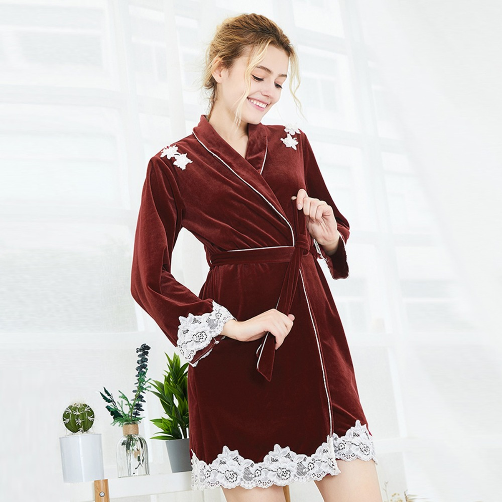 Women Spring Autumn Thicken Nightgowns Lace Mini Women Bath Flannel Warm Robe Belt Sleepwear Female Nightdress