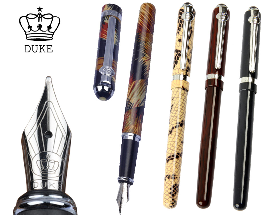 Ink Fountain pen or Gel RollerBall pen DUKE 962 The best gifts  office and school writing pens Free Shipping duke luxury writing business stationery black and gold 0 5mm fountain pen with blue gem on the top metal ink pens free shipping