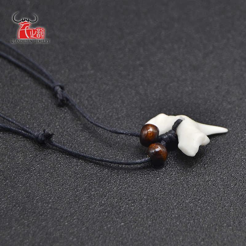 1 قطعة هاواي سيرفر مجوهرات اليدوية تقليد القرش الأسنان قلادة نيوزيلندا الماوري القبلية العظام المختنق المرأة الرجال قلادة