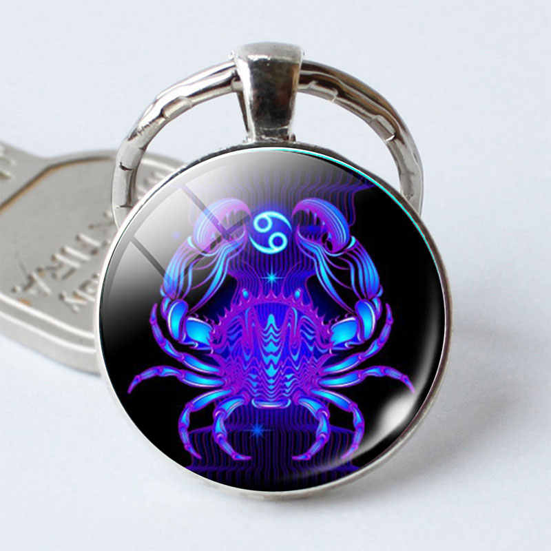 Leo Virgo 12 Constellation Key Chains Glass Cabochon Pendant Zodiac Sign Key Rings Silver Plated Bag Pendant Keychains