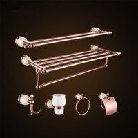Розовое золото 6 шт. Ванная комната набор банные принадлежности Полотенца барная стойка Туалет Бумага держатель
