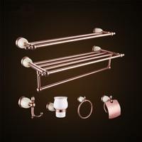 Rose Gold 6pcs Bathroom Set Bath Accessories Towel Bar Rack Toilet Paper Holder