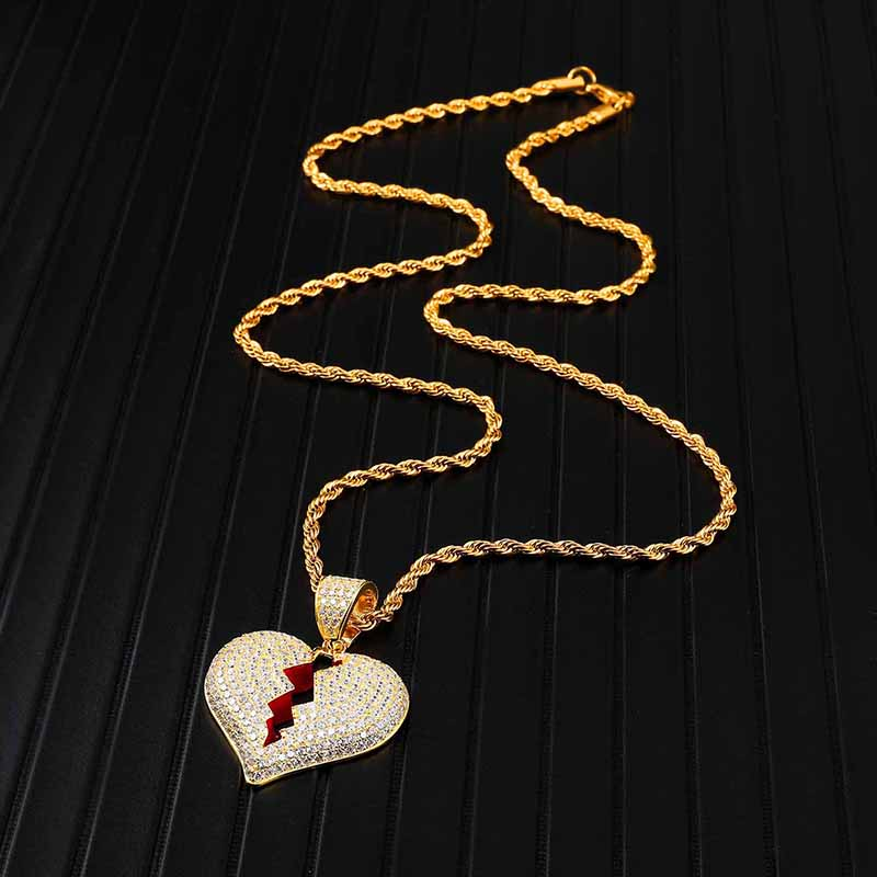 Iced Out Copper Full Rhinestone Rope Chain Heart Breaking Pendant Necklace For Men Hip Hop Jewelry Dropshipping in Pendant Necklaces from Jewelry Accessories