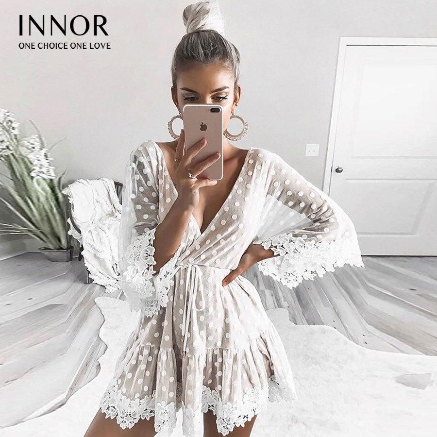 Dentelle blanche Dot femmes Mini robes 2018 été Sexy col en V fête plage maille robe dos nu flare manches Vestidos #403