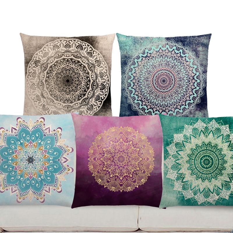 Square Dreamy Rainbow Boho Desert Flower Decorative Pillow Gorgeous Gold  Mandalas Savanah Fantasy Serenity Prints Cushion Cover