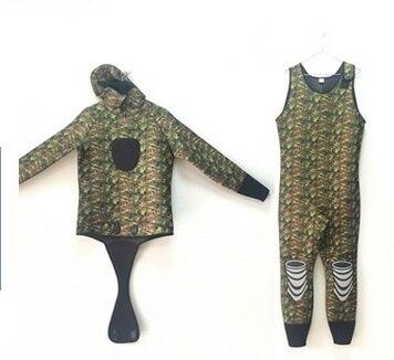 Double Warm Professional 6MM 2 Piece Neoprene Scuba Camo Wetsuit With Hood Zipper Split Spearfishing Snokling Swim Diving Suit