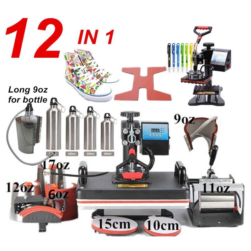 12 En 1 Combo máquina de prensa de calor, sublimación/Prensa de calor, máquina de transferencia de calor para taza/tapa/camiseta/Fundas de teléfono/bolígrafo/zapato/bola
