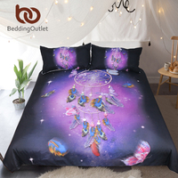 BeddingOutlet Dreamcatcher Bedding Set Queen Romantic Purple Duvet Cover Dreamlike Butterfly Bed Set Feathers Bedclothes 3pcs