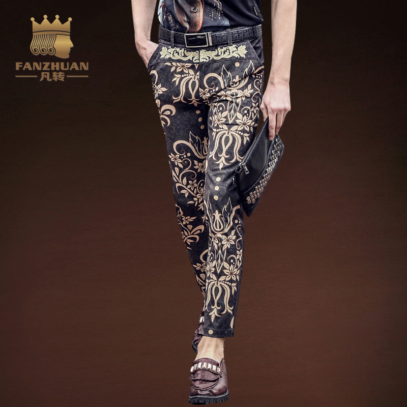 FANZHUAN Featured Brands Clothing Summer  Men Ankle-Length Pants Hawaiian Pattern  Print Pants Men's Pencil Pants Flowers Pants