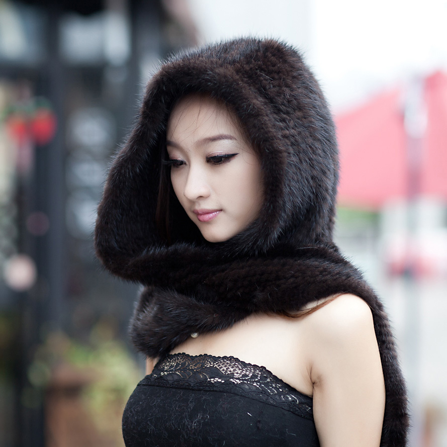 Real Mink Fur Hat Scarf Luxury Women Winter Handmade Knitted Natural Mink Fur Hat & Scarf Female Brown/ Black Warm Hats Scarves стоимость