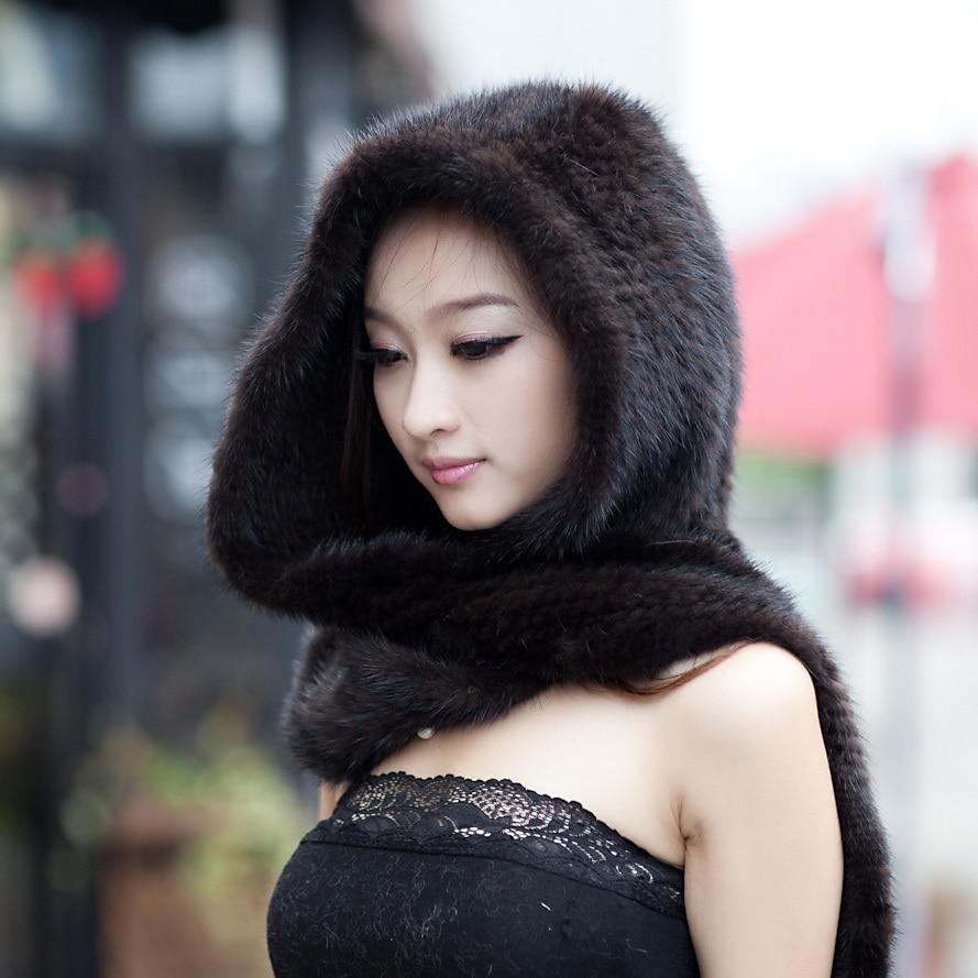 Real Mink Fur Hat Scarf Luxury Women Winter Handmade Knitted Natural Mink Fur Hat & Scarf Female Brown/ Black Warm Hats Scarves