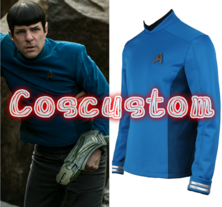 Coscustom High Quality Star Trek Beyond Spock Costume Star Trek Blue Shirt with Free Badge Adult Halloween Cosplay Costume